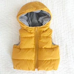 Baby Gap Hooded Puffer Vest Yellow